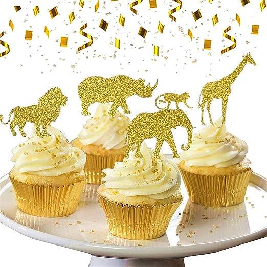 SHUGUAN 30 piezas de decoraciones para cupcakes de animales ...