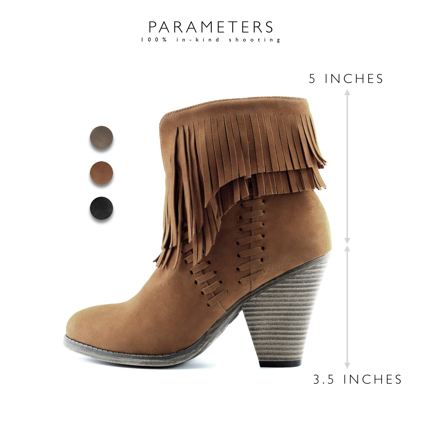 DailyShoes Womens Double Fringe High Top Ankle Booties High Heel Western Cowboy Boot