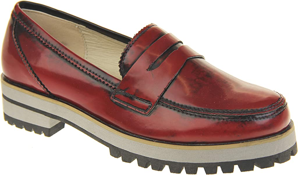 617ba15b74f Womens Leather Flat Casual Chunky Sole Loafers Red 9 B(M) US