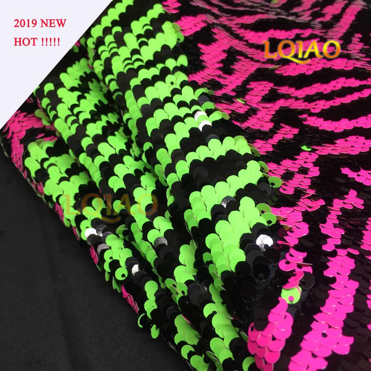 e9aba300bdff52 LQIAO Sequin Fabric Color Change Multicolor Zebra Green Neon Pink Strips  Reversible Mermaid Sold by The Yard Two Tone Flip UP Sequin Cover Shimmer  Fabric ...