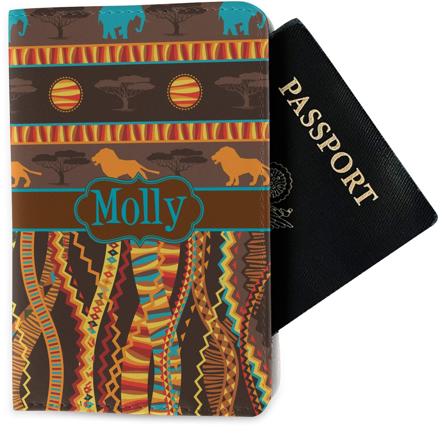 Personalized African Lions /& Elephants Passport Holder Fabric