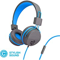 JLab Audio Neon Folding On-Ear Headphones | Wired Headphones | Tangle Free Cord | Noise Isolation | 40mm Neodymium Drivers | C3 Sound (Crystal Clear Clarity) | Graphite/Blue