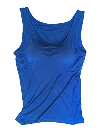 86c0739bfe8f8 Xudom Workout Womens Tank Tops With Built-In Bra Padded Camisole Ribbed  Running Dark Blue