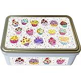Kalam - Caja metálica decorada para pasteles, cuadrada, diseño de cupcakes