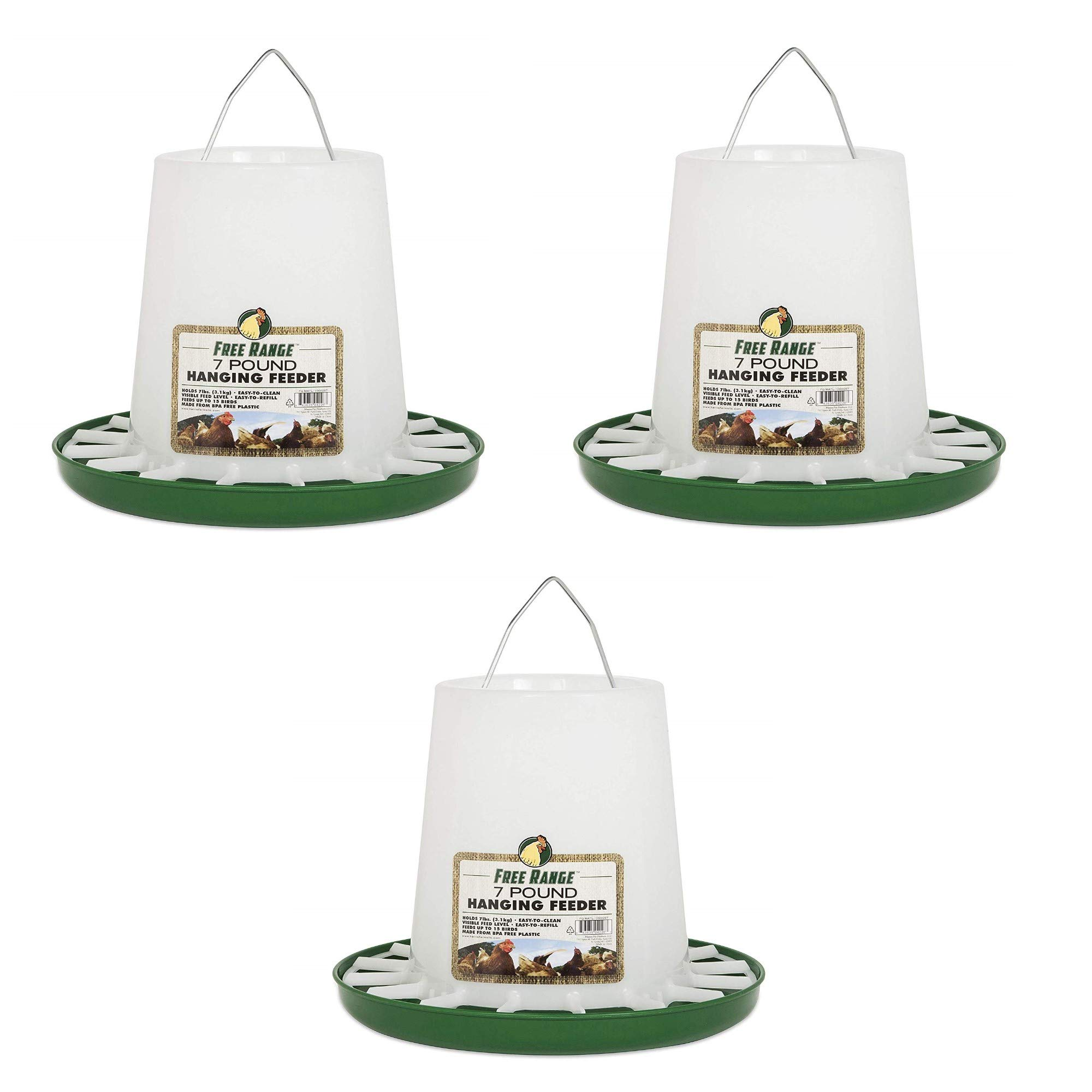 Harris Farms Free Range Hanging Poultry Feeder, Plastic 7 Pound - 3 Pack by Harris Farms