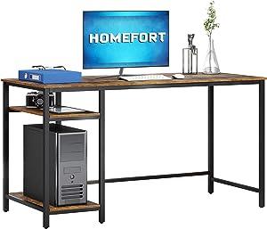 HOMEFORT 55-Inch Computer Desk, Rustic Home Office Desk, Writing Desk with Storage Shelves, Multipurpose Home Office Workstation, Student Desk with 2-Tier Wood Bookshelf, Modern Wood PC Table