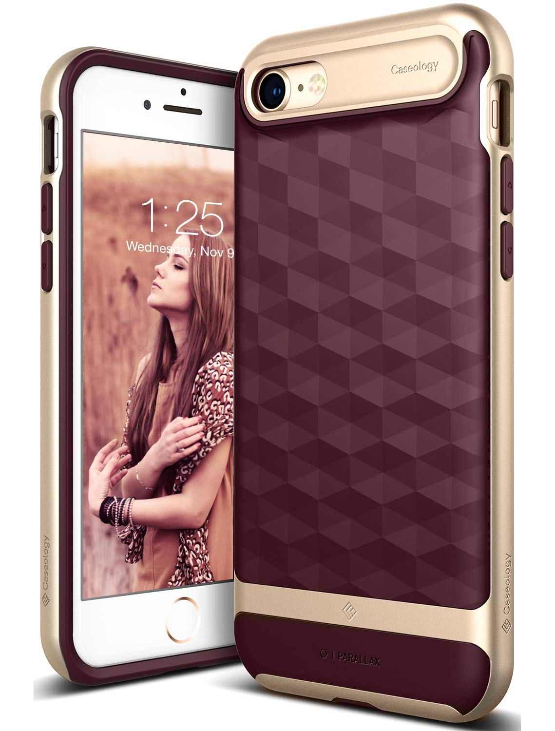 Caseology Parallax Series iPhone 8/7 Cover Case with Design Slim Protective for Apple iPhone 7 (2016) / iPhone 8 (2017) - Burgundy