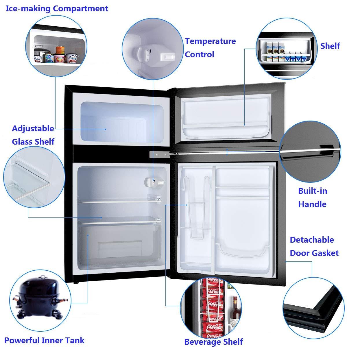 Unit Small Freezer Cooler Fridge COSTWAY Compact Refrigerator 3.2 cu ft Black