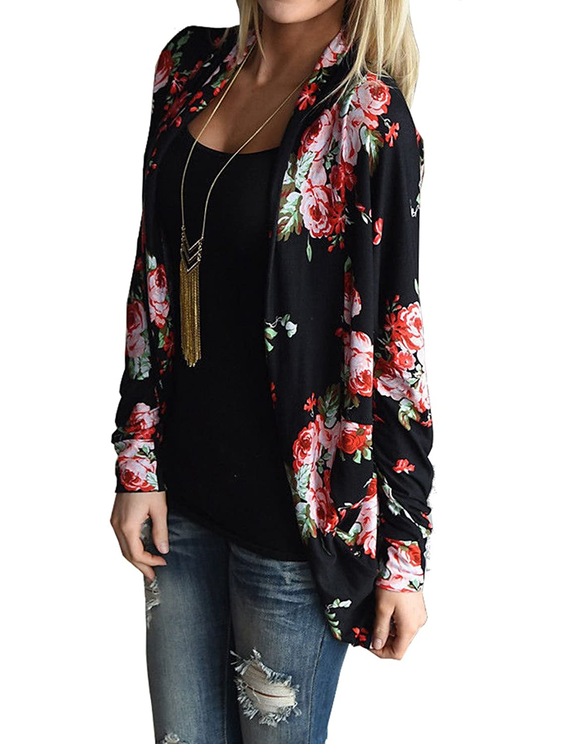 relipop womens floral long sleeve wrap kimono cardigans jacket coat small black apparel. Black Bedroom Furniture Sets. Home Design Ideas