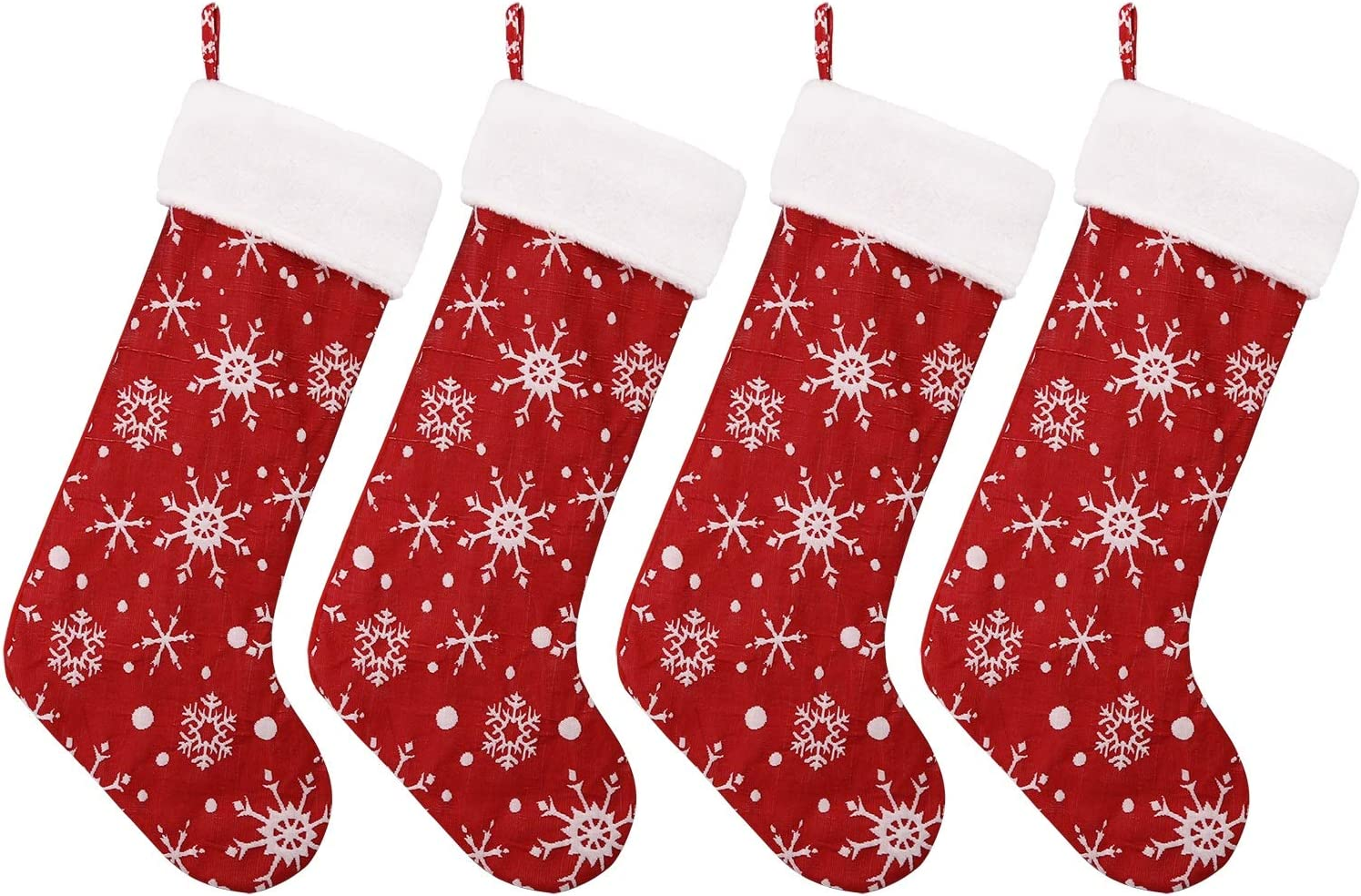 """Classic Christmas Stocking. Snowflakes with White Plush Trim. Perfect for Home Decoration, Gift Display and Added Holiday Spirit. (4PC; Large 22"""")"""