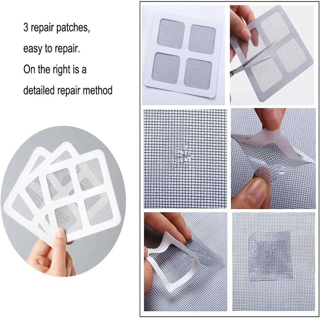 White,1.5m x 2m Yeelan 3 Set Mosquito net Window Screening Protector Curtain Mesh Insect Bug Mosquitos Netting Door for Windows with 3 Rolls Self-Adhesive Tapes /& 3 Patch Stickers