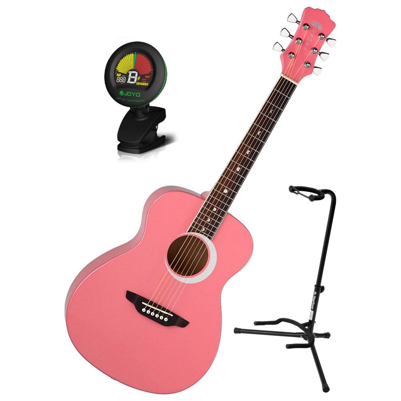 Luna Aurora Borealis 3/4 Size MINI Acoustic Guitar Pink w/ Stand and Tuner Aurora Borealis Pink BUNDLE