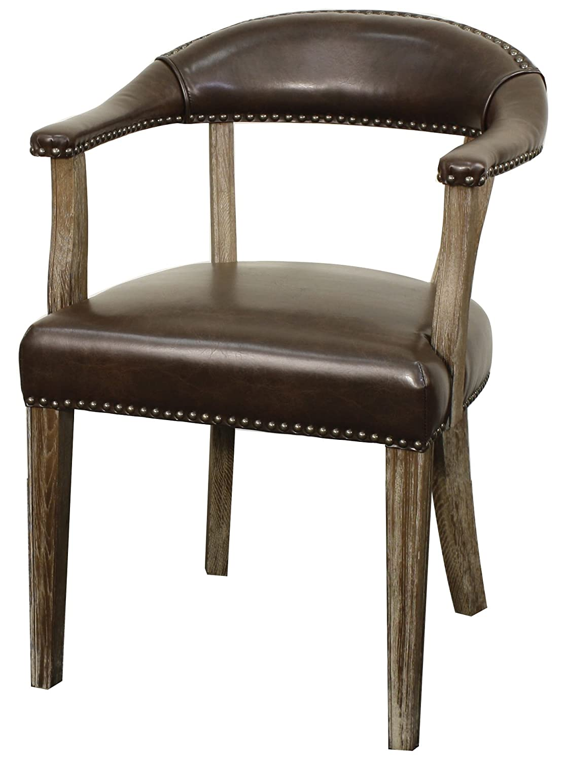 New Pacific Direct Bernadette Chair,Distressed Brown Legs,Rice Beige,Fully Assembled 398131-RI