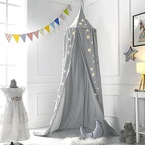 Ciel de lit pour enfants, coton Mosqutio Filet à suspendre Rideau, bébé Intérieur Extérieur Play Tente de lecture, lit et décoration de chambre à coucher, Moustiquaire protection (haute 240 cm, tour de haut du Circonférence : 152 cm, bas : 265 cm)