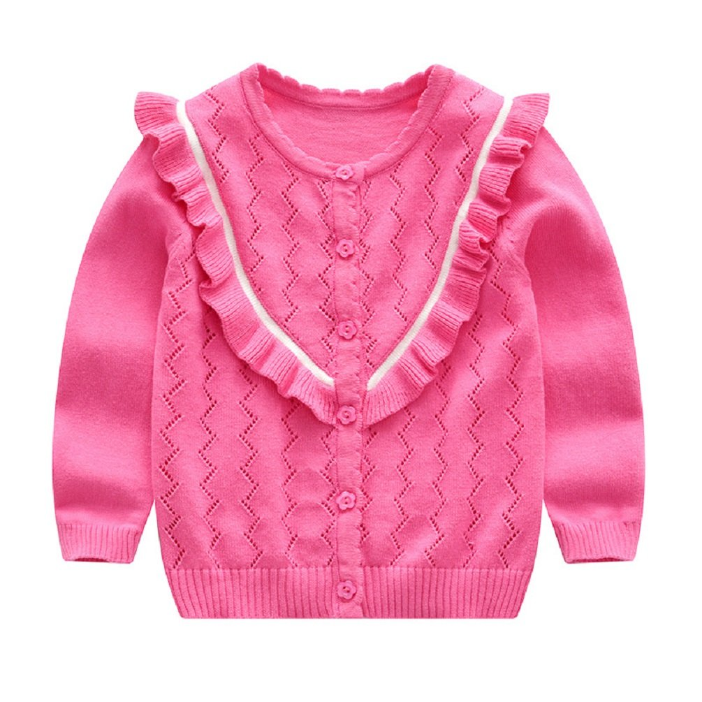 Goodkids Knit Cardigan Children Button Hollow Sweater Autumn Spring Cotton Long Sleeve Jackets for Baby Girls