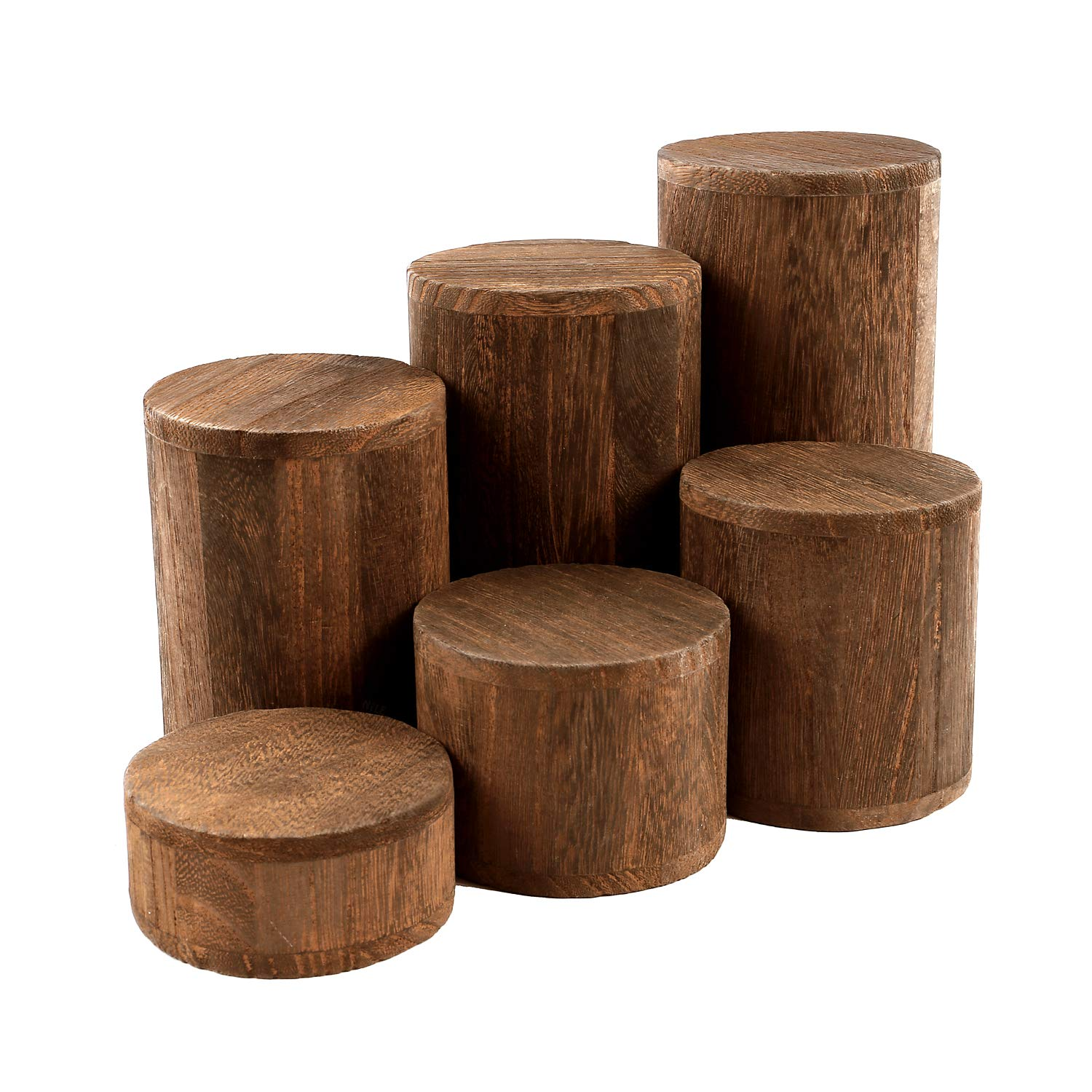 Mooca Wooden 6 Pcs Round Risers for Display Jewelry and Accessories Display Stand, Brown