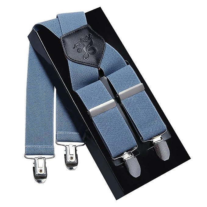 Tirantes Hombre Elásticos Ancho seis clips extra fuerte totalmente adjustable seis clips KANGDAI JiSvr