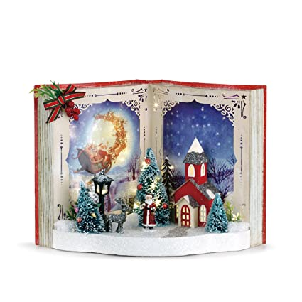 7286dac00c71 Amazon.com: DEMDACO Storybook Santa Scene LED Light Up 11 x 8 Inch ...
