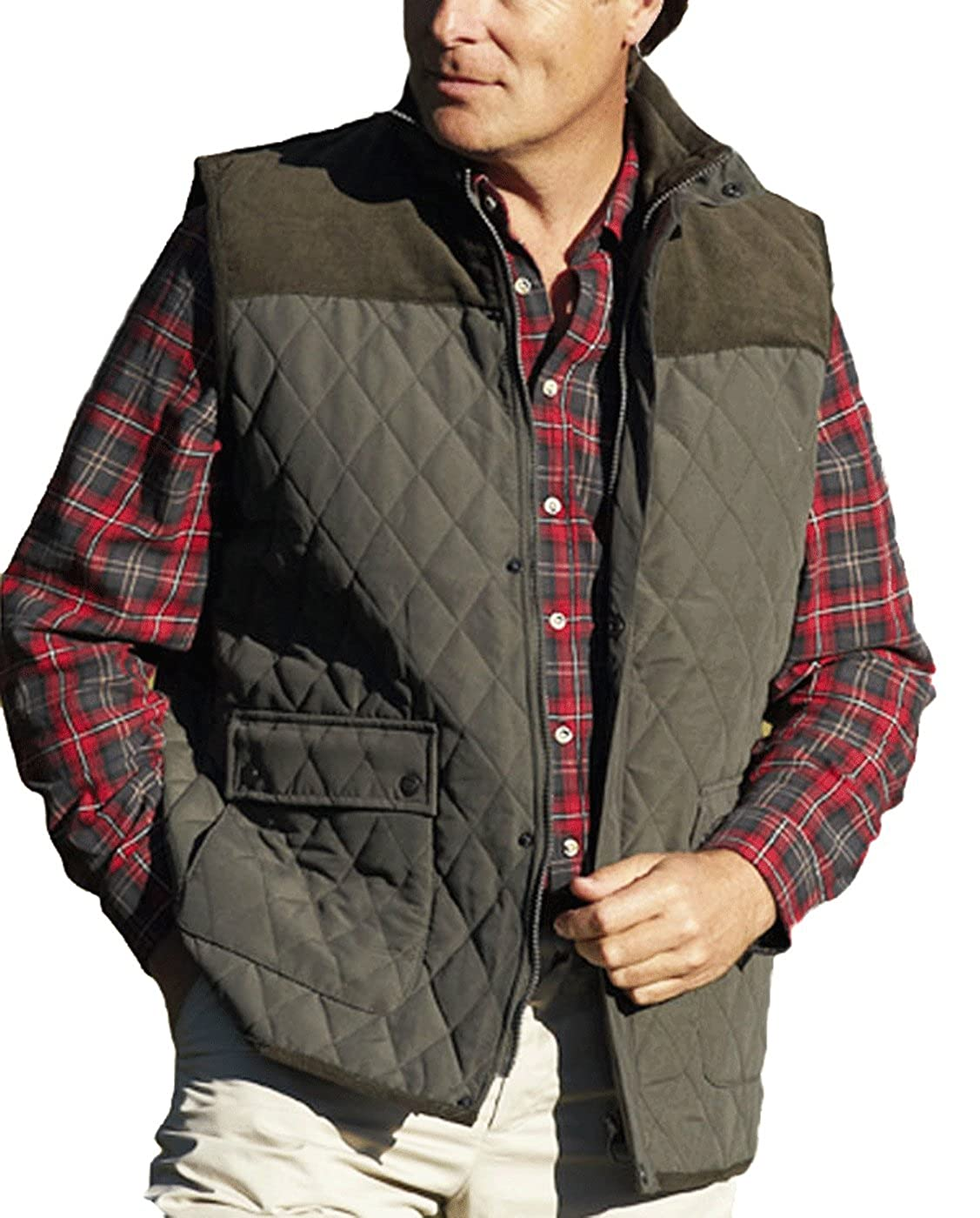 New Champion Country Estate gilet outdoor bodywarmer Diamond Quilted waistcoat Outerwear jacket fishing hunting shooting walking farming Olive XXL