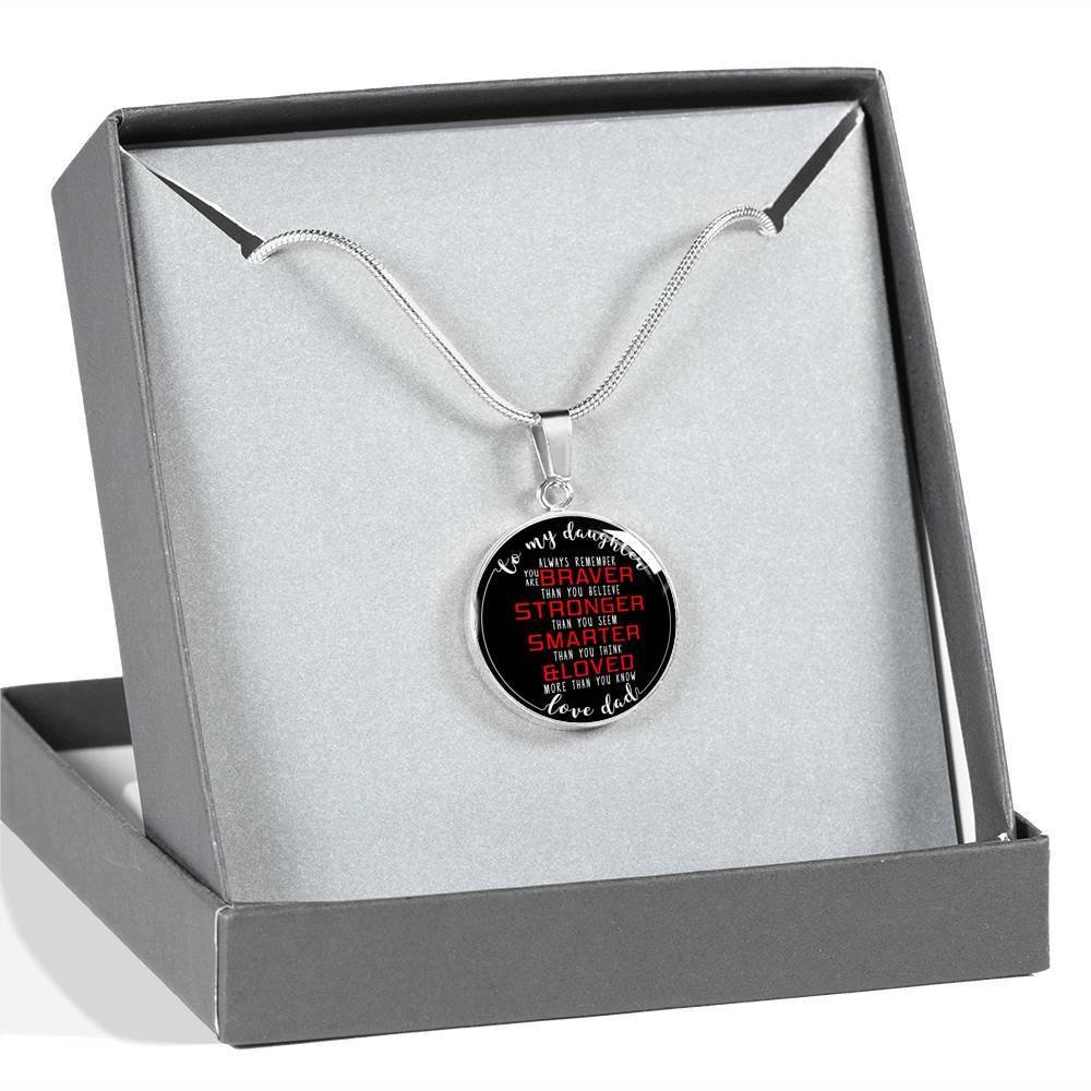 You Are Braver Than You Believe ShineNow Meaningful Quote Father/Daughter/Necklace Jewelry Anniversary. Perfect Happy Birthday Gift On Christmas