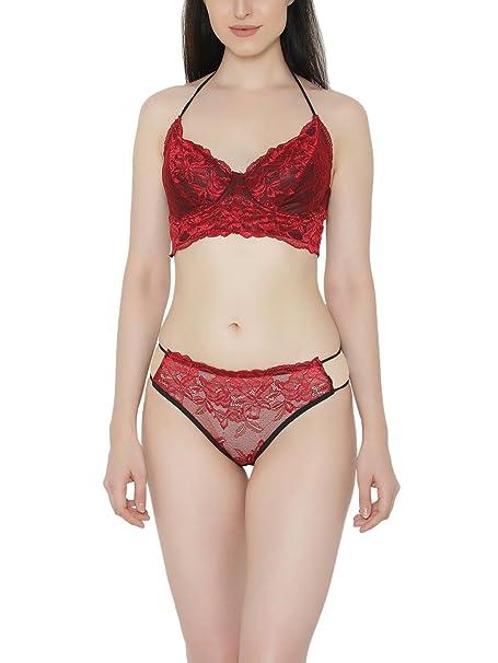 cecbd90b642 Clovia Women s Lace Non-Padded Underwired Halter Neck Bra   Bikini Panty   Amazon.in  Clothing   Accessories