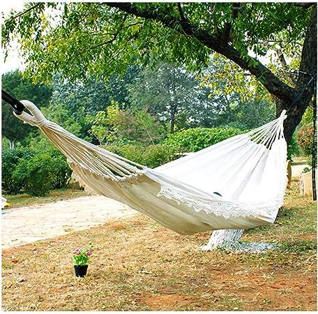 JXS-outdoor Hamaca de jardín, Hamaca de Lona de algodón y prevención de vuelcos Borla de Encaje,Tassel(nocrossbar): Amazon.es: Hogar