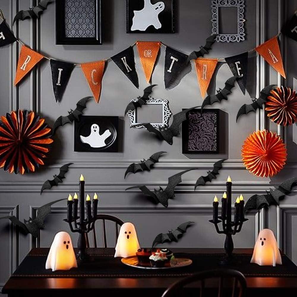 32PCS Halloween Party Decoration Decal Wall Sticker DIY PVC 3D Decorative Bats Binken Bats Wall Decal Sticker
