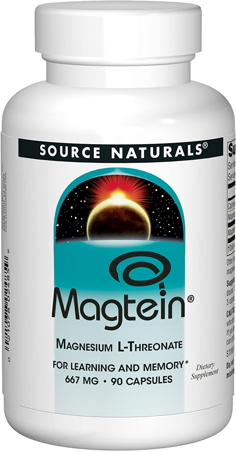 Source Naturals Magtein 2,000mg Serving Magnesium L-Threonate Supplement - Advanced Cognitive Health, Memory & Learning Support - 90 Capsules