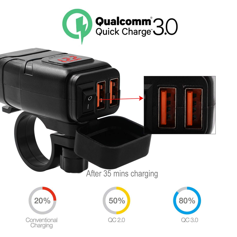 Blau FishOaky USB Motorrad Steckdose QC 3.0 Quick Charger USB Ladeger/ät 2 Port Wasserdicht mit LED Voltmeter und On//Off Schalter f/ür Motorrad Auto Boot KFZ SUV Handy GPS