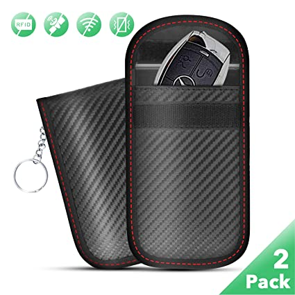 9aae493091fa Faraday Bag Key Fob Signal Blocking, Faraday Cage Protector RFID Blocking,  Nano Car Key fob Case Pack of 2, Waterproof, Carbon Fiber Texture,by ...