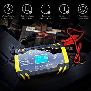 12V 8Amp/24V 4Amp Automotive Smart Battery Charger/Maintainer for Car, Truck, Motorcycle, Lawn Mower, Boat, RV, SUV, ATV and More (Color: 24V 4Amp&12V 8Amp, Tamaño: 6.7x3.9x2.3)