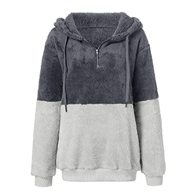 662a33ad Gyoume Womens Fluffy Sweater Warm Coats Hoodies Overcoats Long Sleeve Hooded  Jumper Pullover Jacket Coat Gray