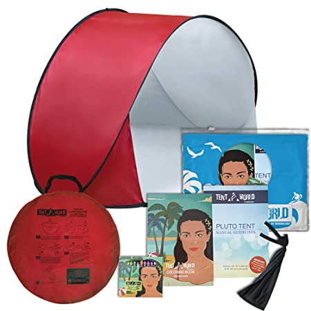 Pluto Red Hills Tent A Perfect Kids Shelter. an Outdoor Travel and Activities Shade Tent Mini Canopy. Lightweight and Protects from Wind, Sun Rain at The Beach or Park. Includes Fun Bonuses