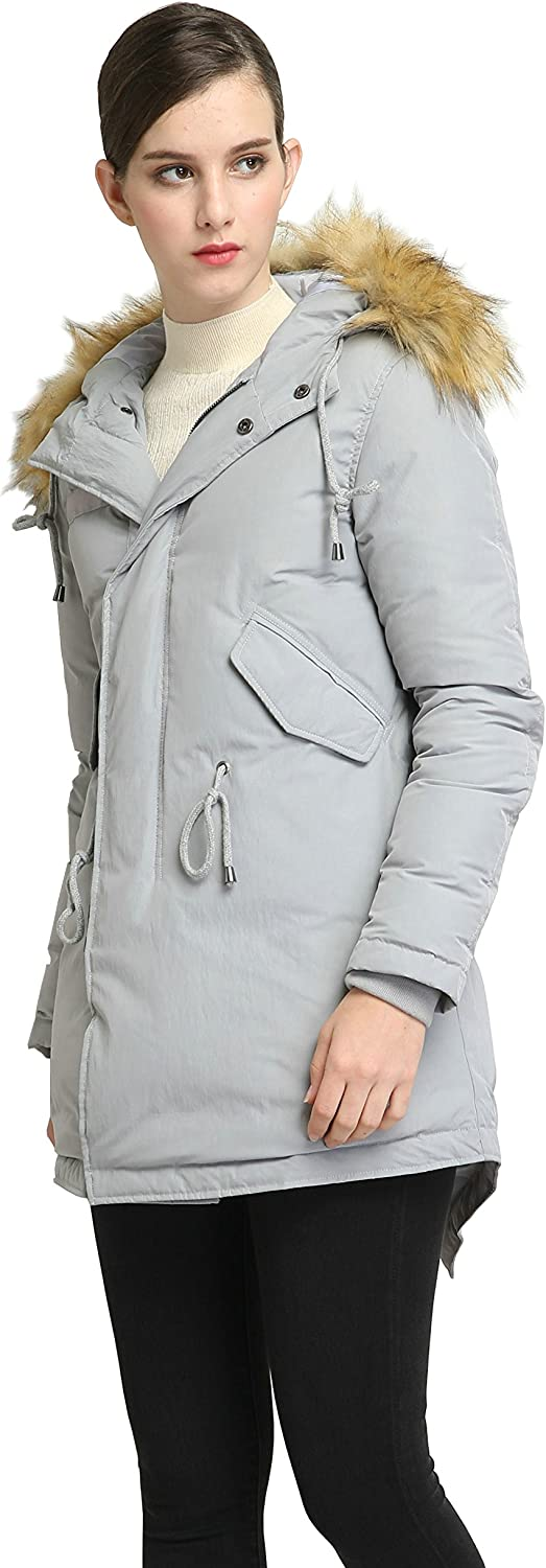 Cromoncent Mens Stand Collar Outdoor Zip Up Contrast Colors Thick Parka Jackets Coat