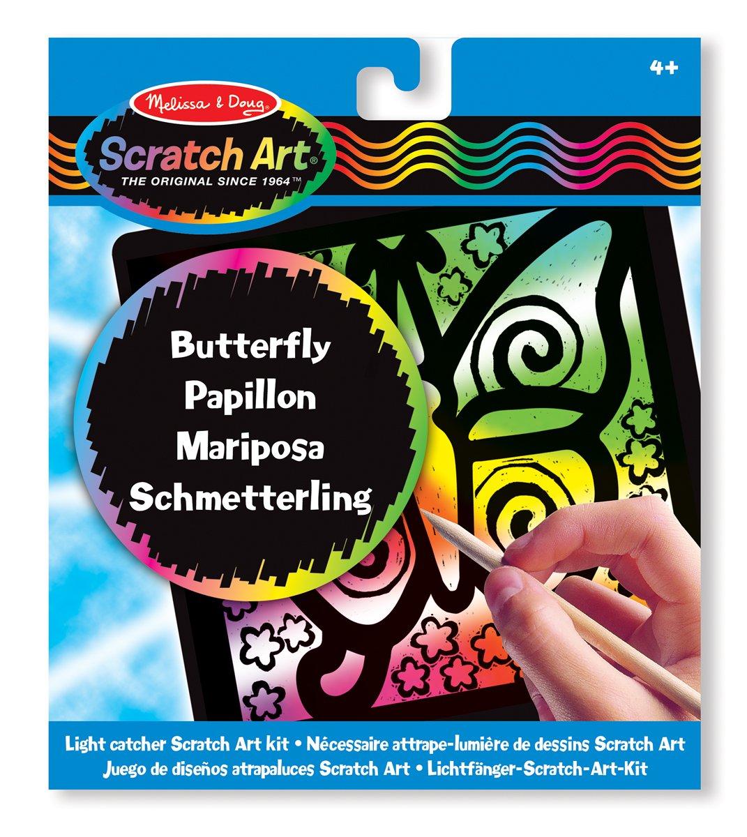 Melissa /& Doug Juego de dise/ños atrapaluces con Mariposa Scratch Art 15885