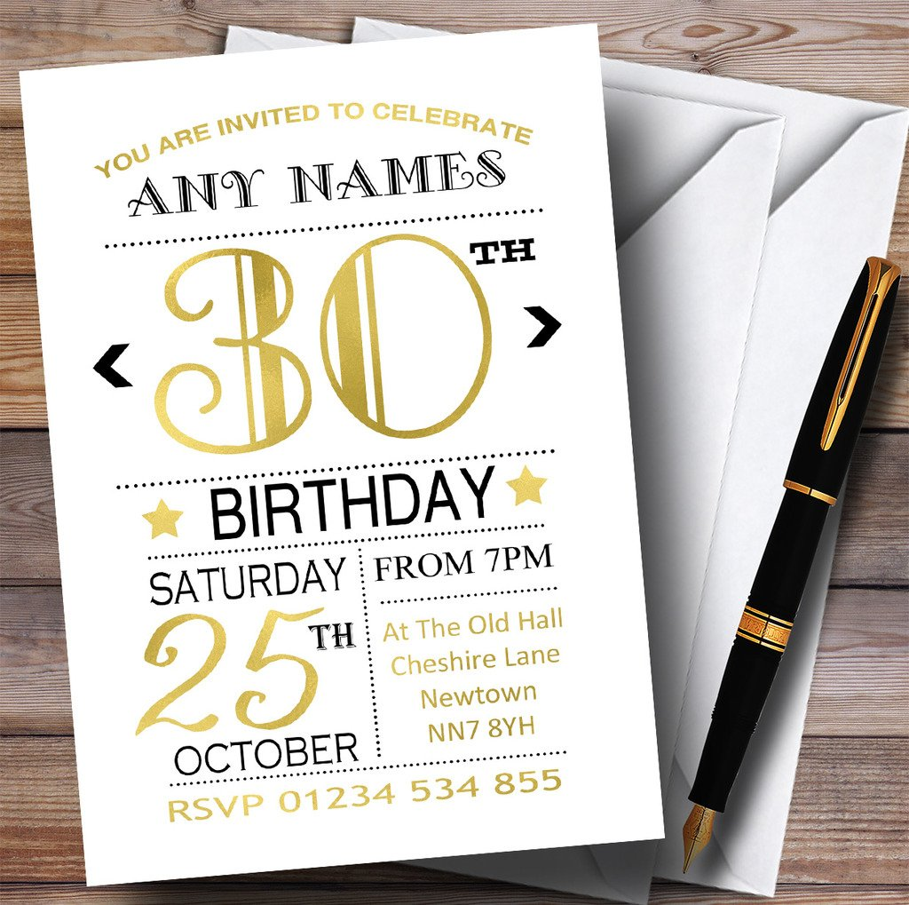 80 Invitations White Black & gold 30th Personalised Birthday Party Invitations