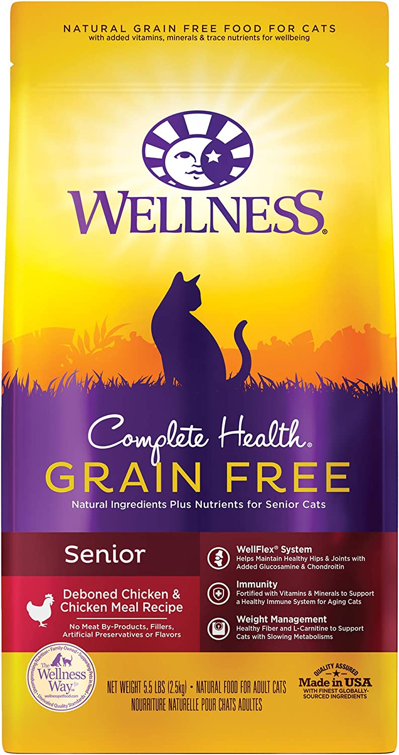Wellness Complete Health Grain Free Senior Dry Cat Food, 5 Pound Bag
