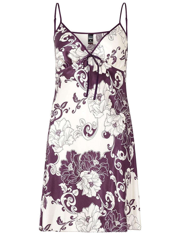 """Slenderella Gaspe Purple Oriental Floral Print 36"""" Satin Chemise GL6725"""