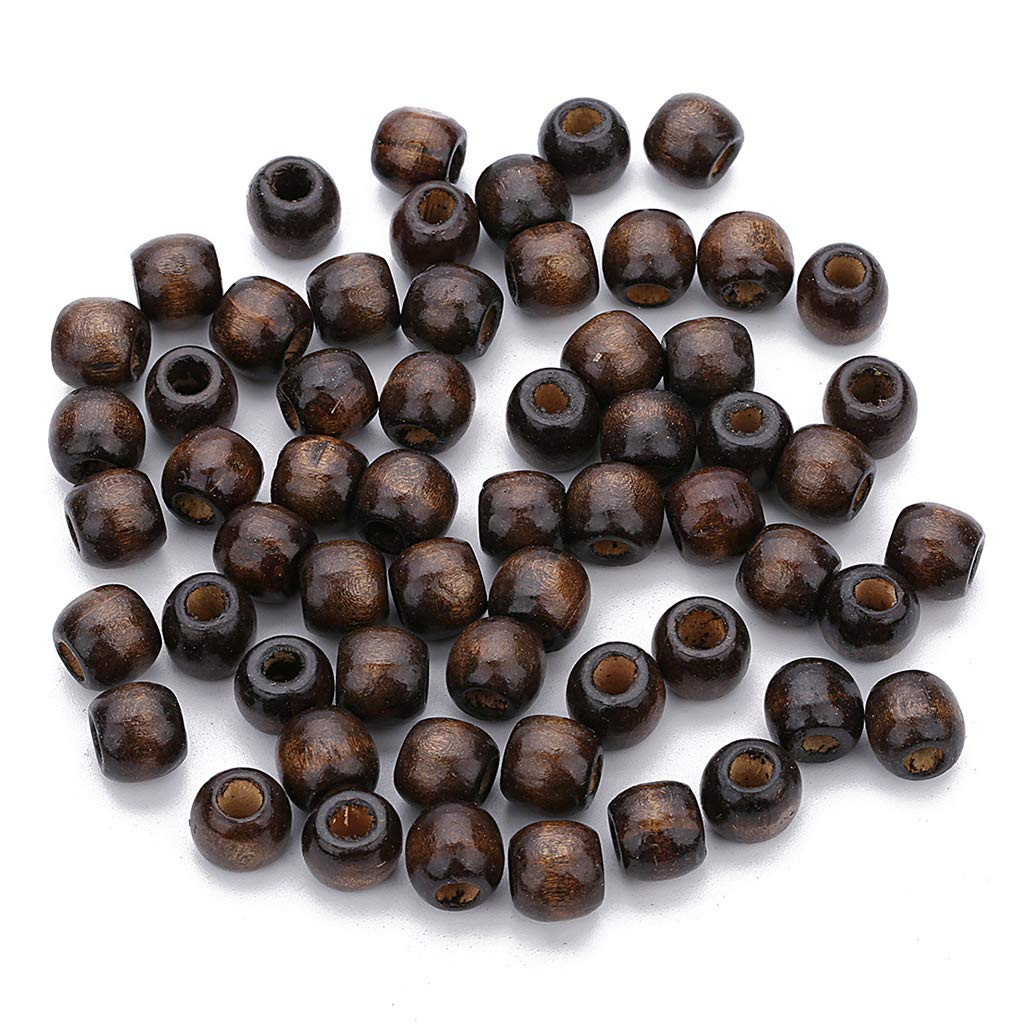 Prettyia 100 Pieces Wooden Barrel European Large Hole Beads Jewelry Making Charms Accessories Findings for Clothing Bag Costume Macrame Beading