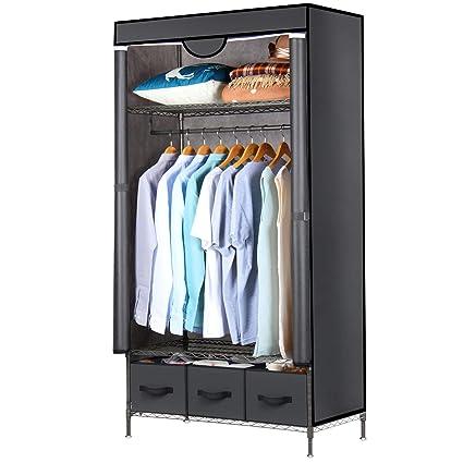 Lifewit Closet Organizer Wardrobe Closet Portable Closet Shelves With Adjustable Legs Closet Storage Organizer With Non Woven Fabric Clothes Cover