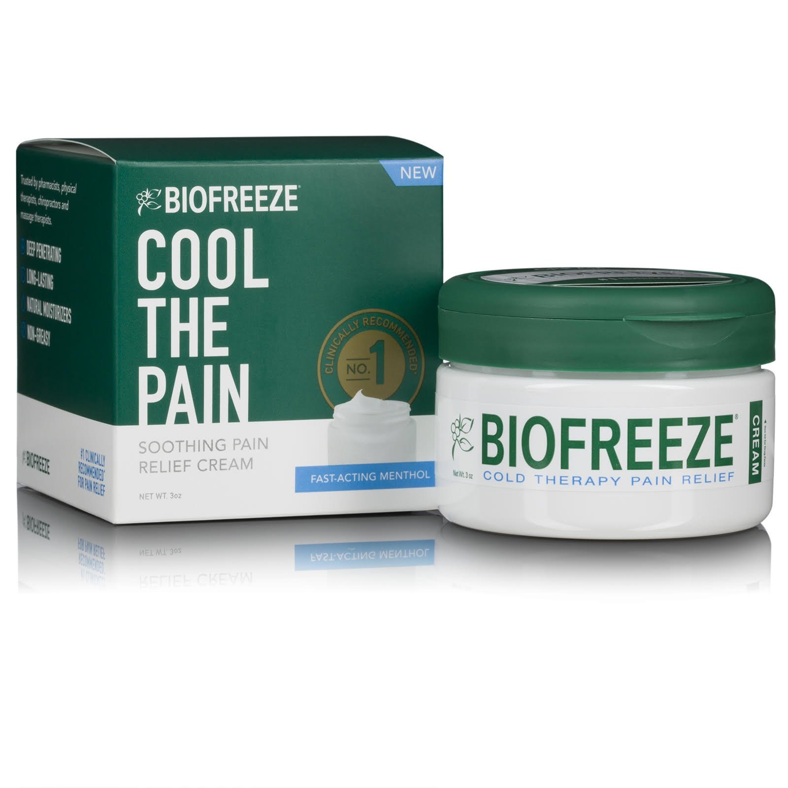 Biofreeze Cream, New Pain Relief Cream from The #1 Clinically Recommended Brand, Advanced Topical Analgesic Pain Reliever, Sore Muscles & Joints, 3 oz. Jar