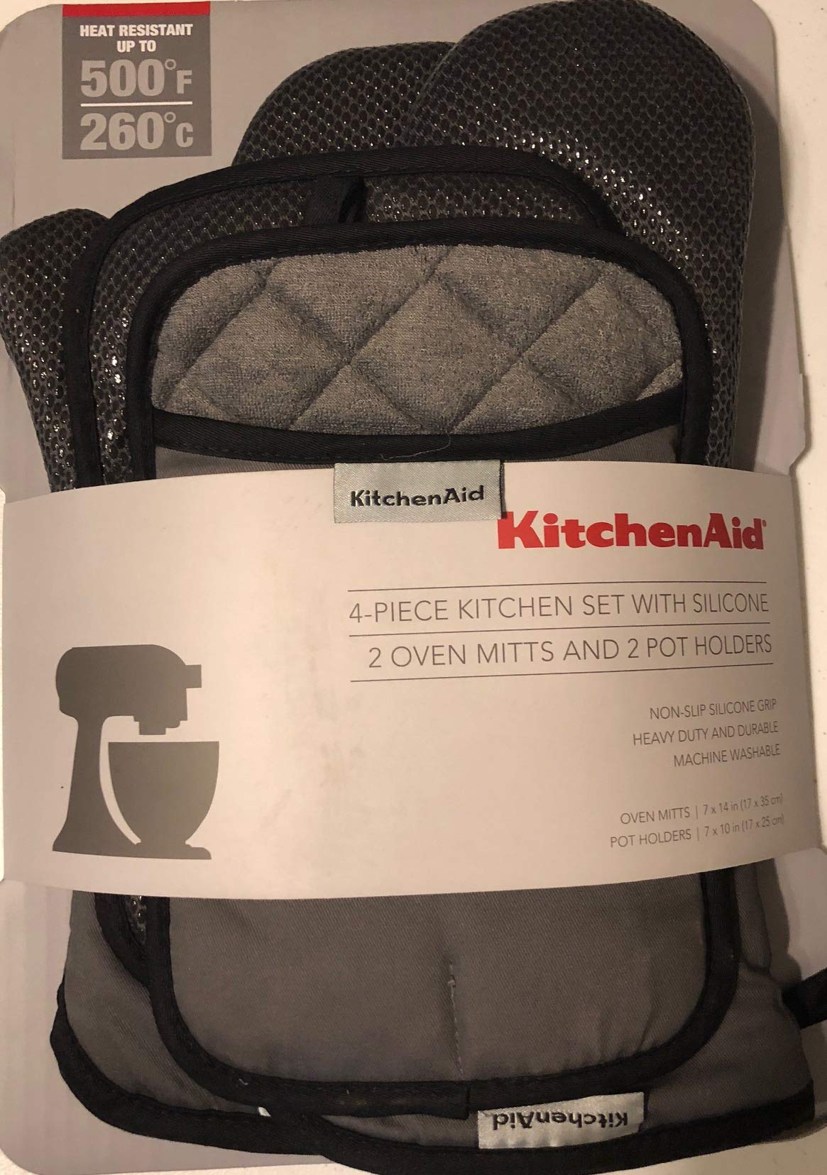 KitchenAid 4 Piece Kitchen Set w/Silicone 2 Oven Mitts, 2 Pot Holders (Grey)