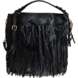 Abro Women's Bucket Bag With Tassel Detail Black