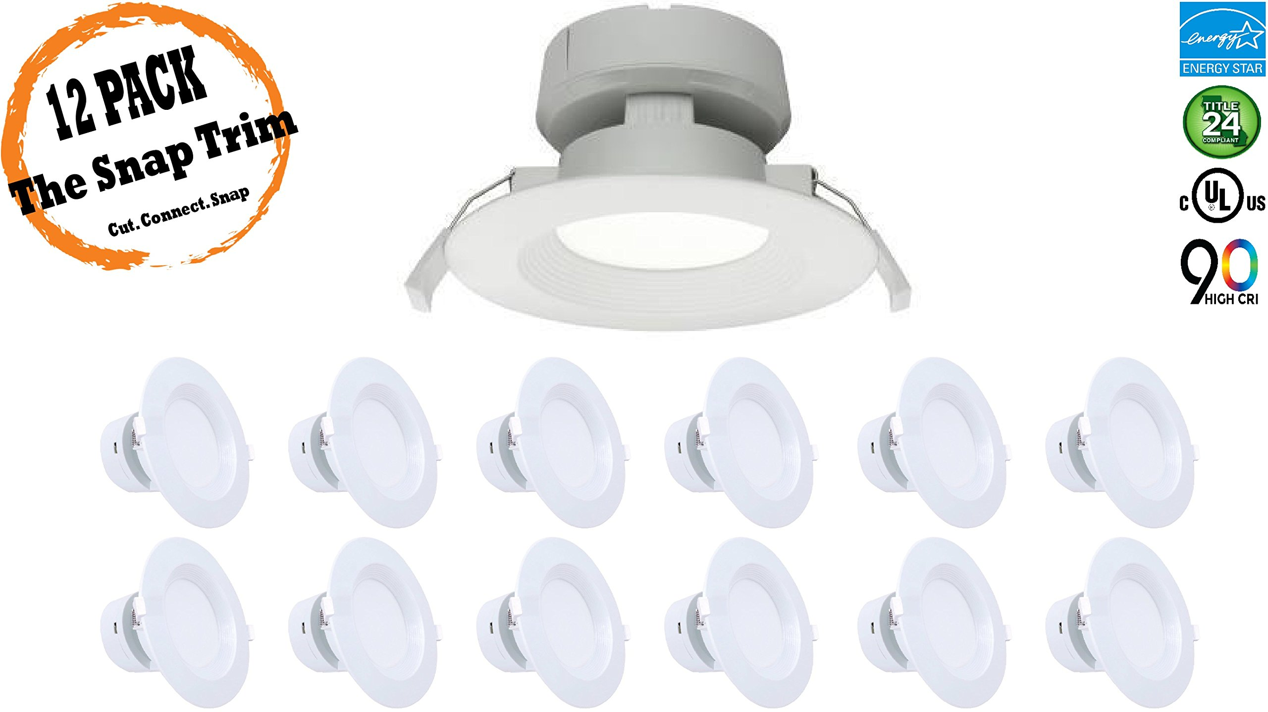 4'' Inch J-Box LED Canless Downlight; 7W=65/75W Equivalent; 40,000 Life Hours; Dimmable to 5%; Wet Location Rated; 5 Year Warranty; 120V; 550 Lumens; CRI>90; Cool White 4000K- (12 PACK)