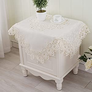 DFGDFHD Lace Tablecloth/Bedside Table Cover/TV Cover Towel/Refrigerator/European-Style White Table Cloth/Table Cloth/Fabrics/Microwave Scarf-B 60x60cm(24x24inch)