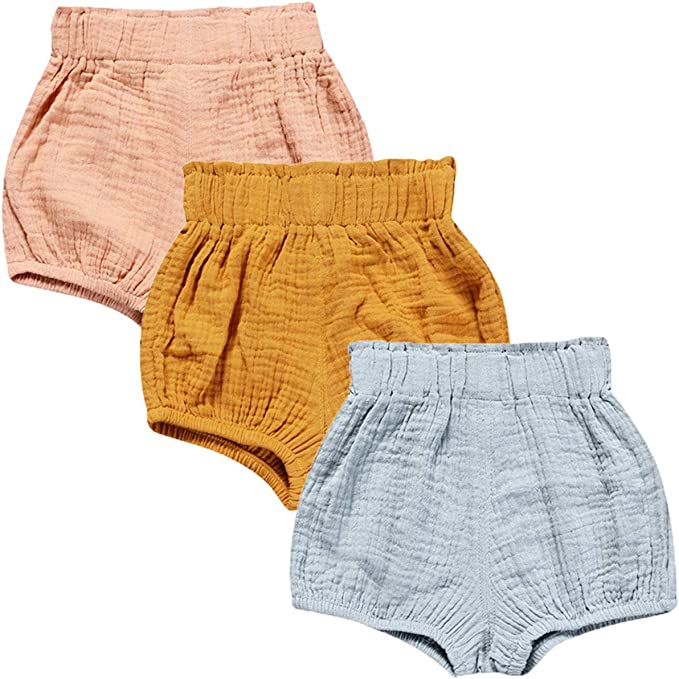 JELEUON Kids Baby Boys Girls 3 Pack Summer Striped Training French Terry Pants Shorts Drawstring Bloomers