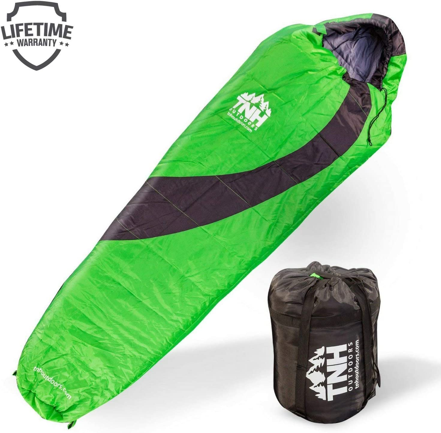 TNH Outdoors Sleeping Bag – Mummy Lightweight Portable, Waterproof, Comfort with Compression Sack – Great for 3 – 4 Season Camping Warm in Winter, Travelling, Hiking, Adult Outdoors Gear