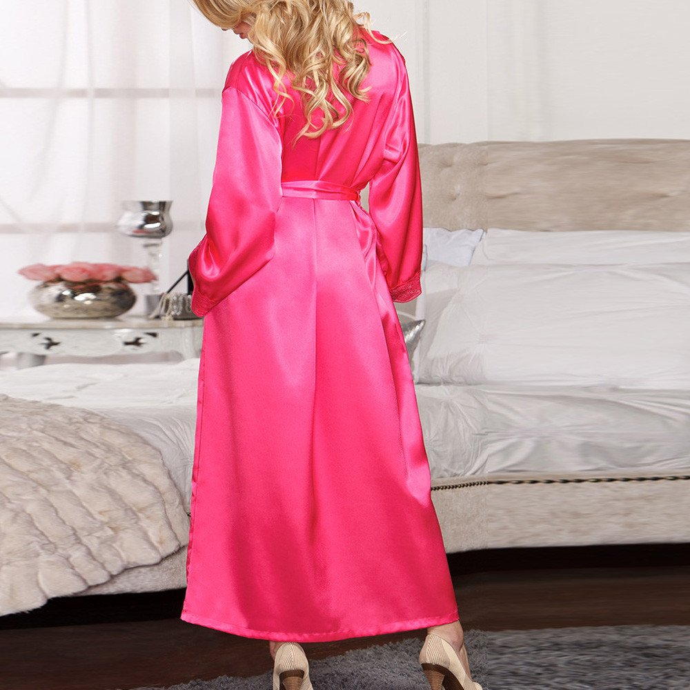 iLXHD Classic Long Satin Kimono Robe Nightdress Gown Babydoll Lace Lingerie Bathrobe Sleepwear for Women