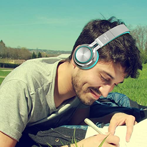 Elecder i39 Headphones with Microphone Foldable Lightweight Adjustable On Ear Headsets with 3.5mm Jack for iPad Cellphones Computer MP3 4 Kindle Airplane School Mint Gray