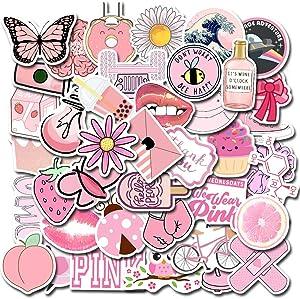50 Packs Cute Pink Lovely Stickers for Water Bottles Laptop Car Hydroflasks Phone Motorcycle Guitar Skateboard Computer Vinyl Sticker Waterproof Aesthetic Trendy Decals for Teens Boys Girls Adults